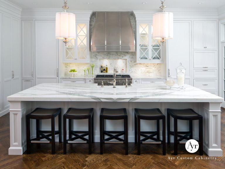 custom kitchen cabinets and bar seating in carmel indiana