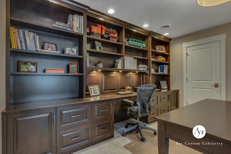 brown custom office cabinets