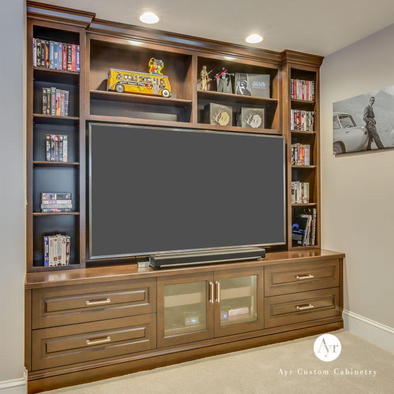 custom entertainment center, built in cabinets