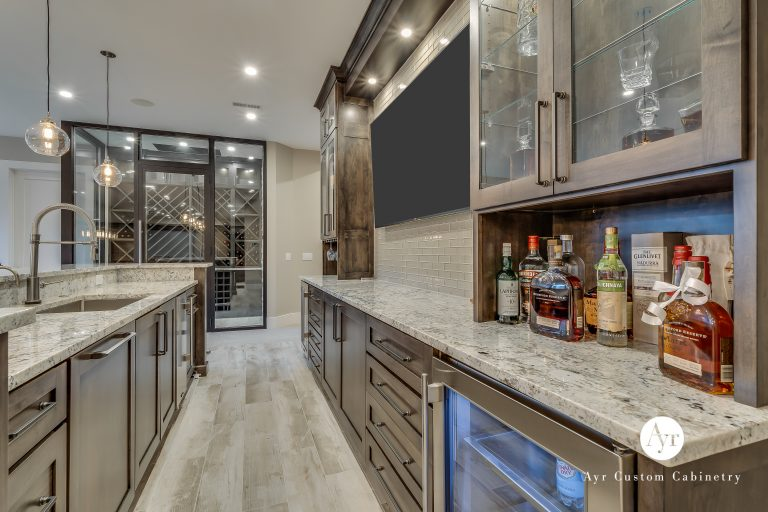 custom tv and bar cabinets in middlebury, indiana