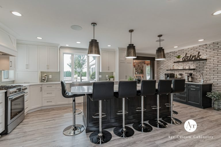 bar seating with custom kitchen cabinets in nappanaee, indiana