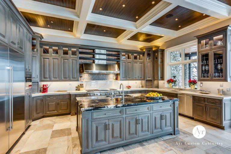 custom kitchen architecture with an island