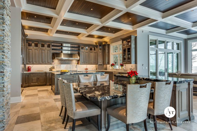 large custom kitchen cabinets in stevensville, michigan with an island