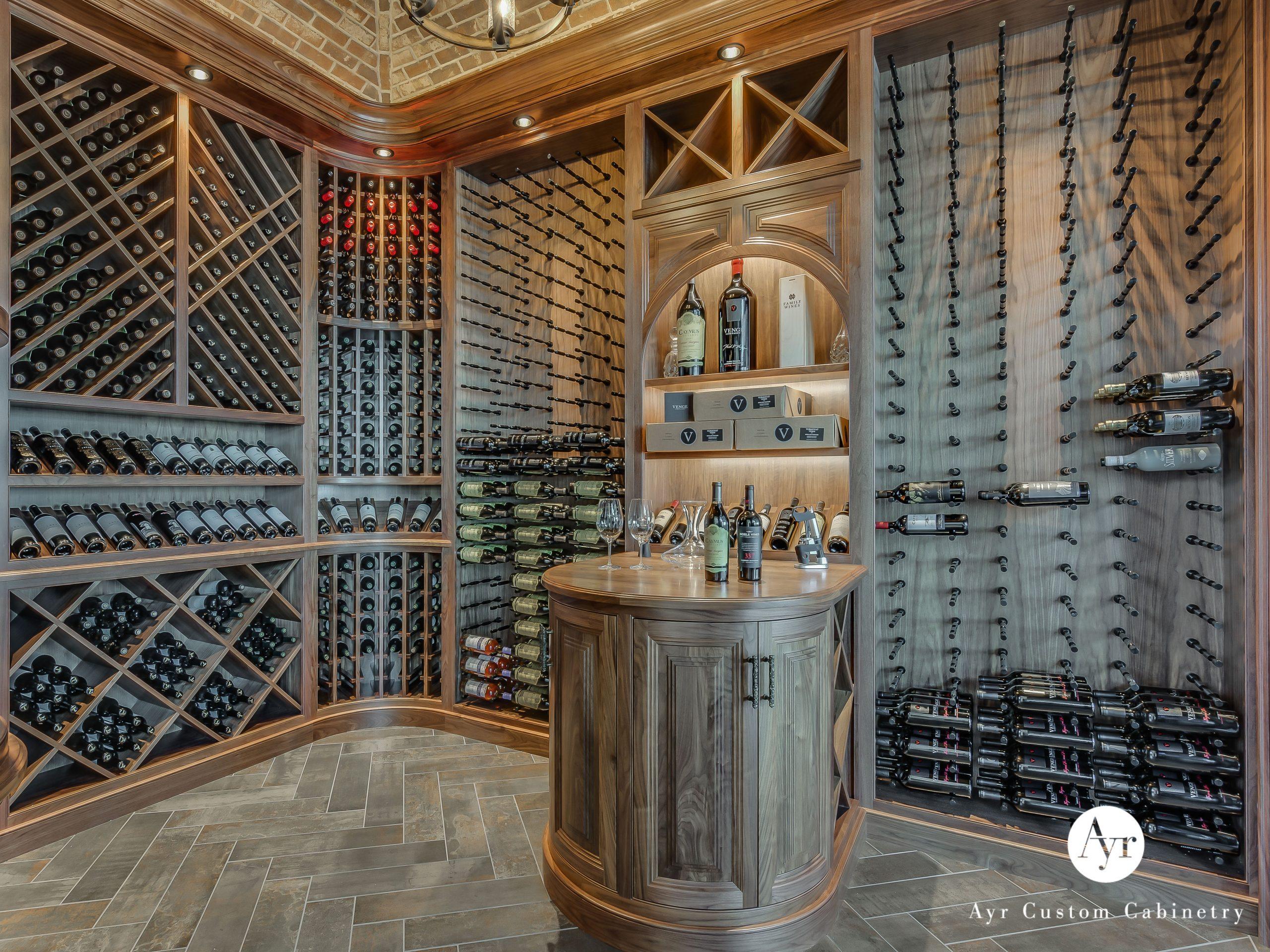 custom bar cabinets, huge wine cellar