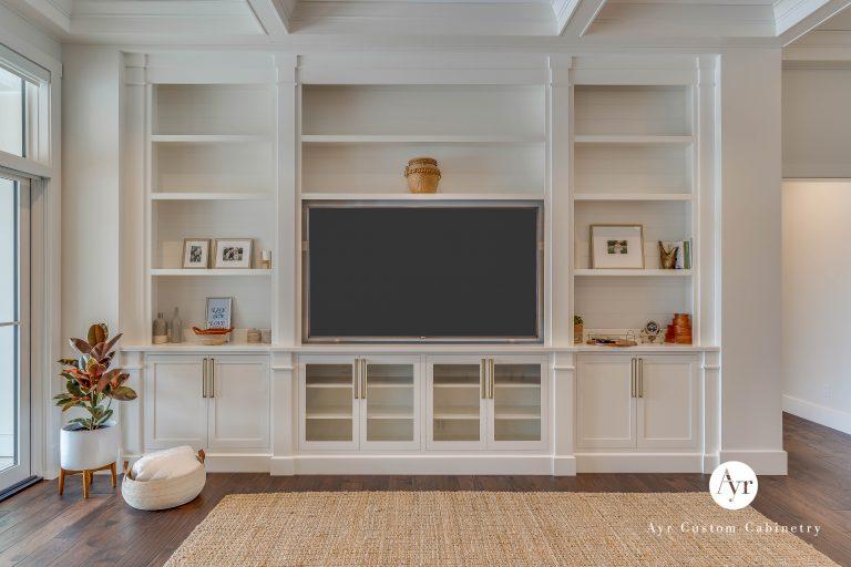 beautiful white custom entertainment center