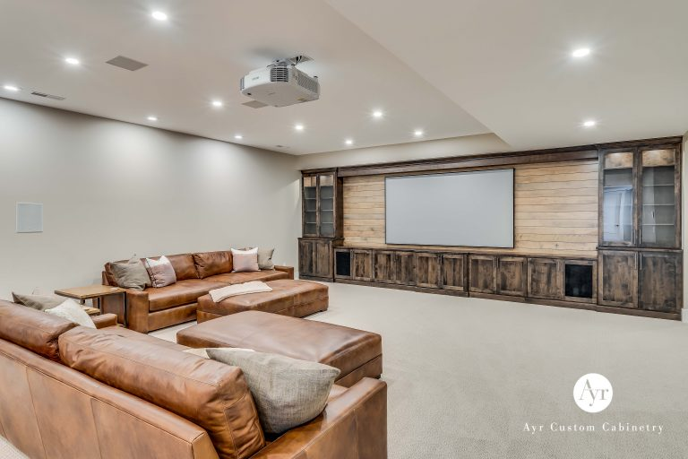 custom built in entertainment center in a basement