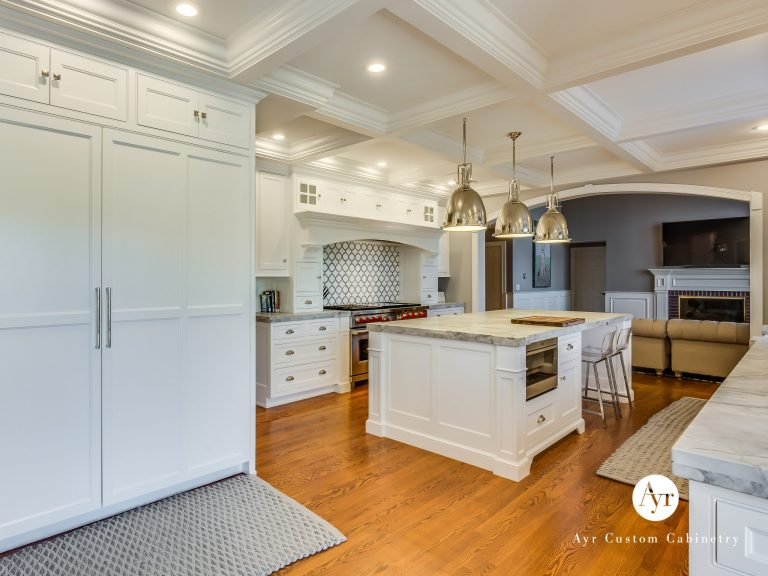 custom kitchen cabinets and living room