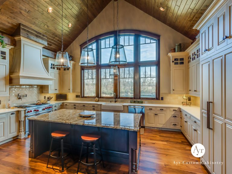 custom kitchen cabinets with wood ceiling