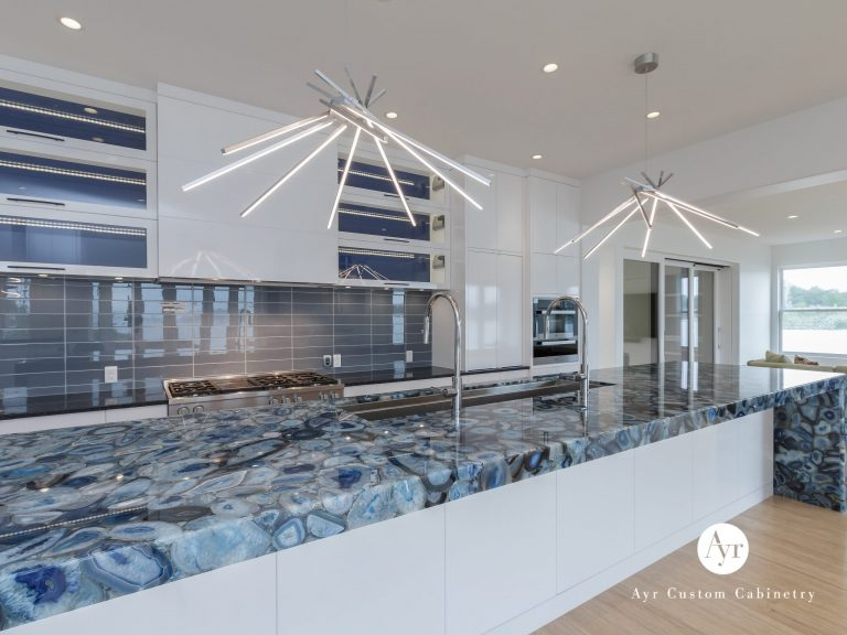 custom blue kitchen cabinets
