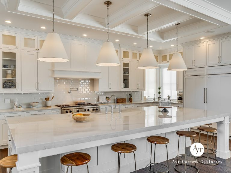 custom kitchen cabinets with large island and bar seating