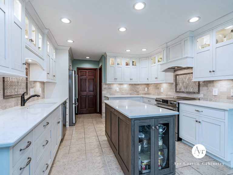 custom kitchen cabinets with small island