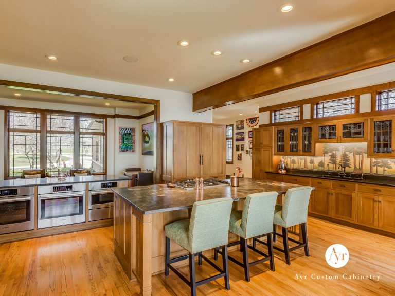 custom kitchen cabinets with barstool seating