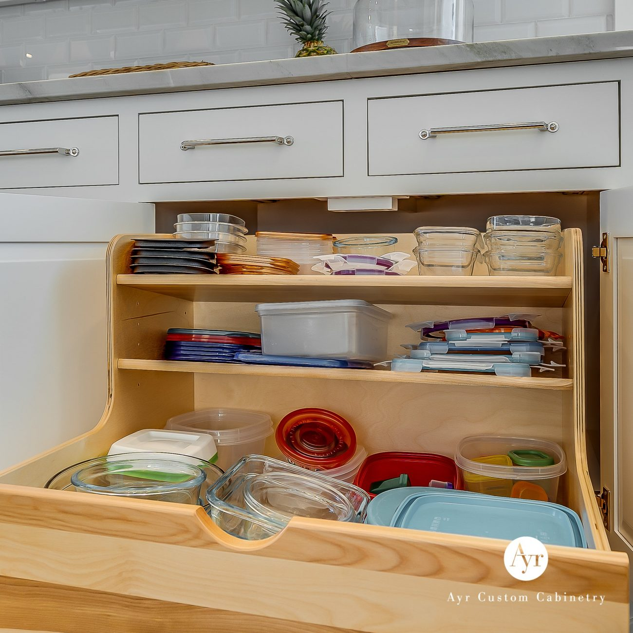 custom kitchen cabinets staley project container & lid storage roll out