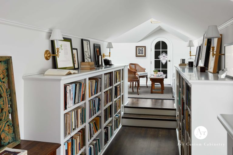custom bookshelves in a library