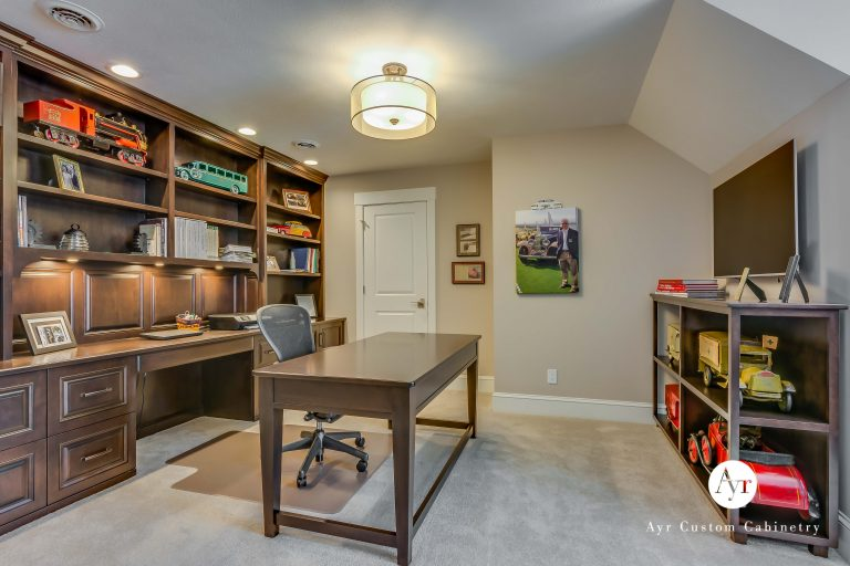 second floor custom office cabinets