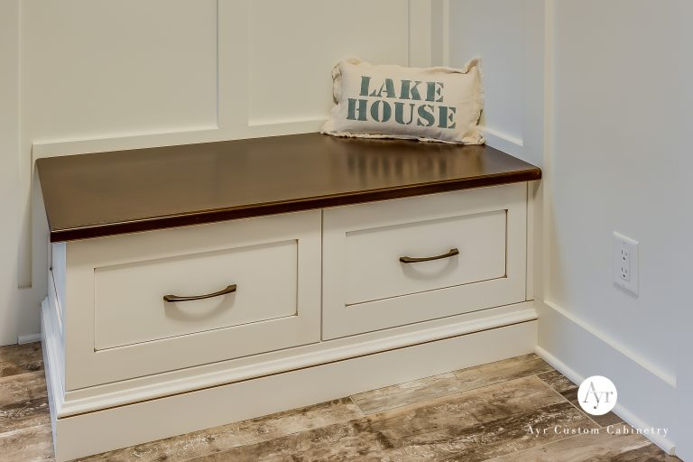 custom mudroom cabinets with wall seat